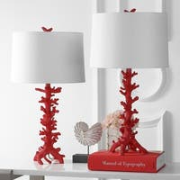 "Safavieh Lighting 28-inch Romilly Coral Table Lamp - Red / White (Set of 2) - 15"" x 15"" x 28"""