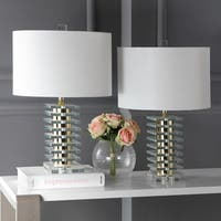 "Safavieh Lighting 23-inch Clancy Table Lamp - Gold / White (Set of 2) - 14"" x 14"" x 23"""