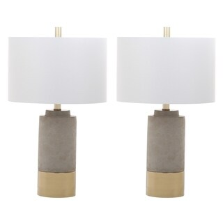 "Safavieh Lighting 24-inch Brown Table Lamp - Grey / Gold (Set of 2) - 14"" x 14"" x 24"""