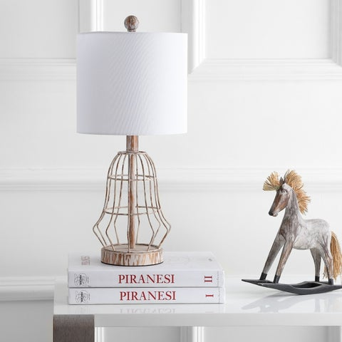 """Safavieh Lighting 20-inch Canes Table Lamp - Silver - 10"""" x 10"""" x 20"""""""