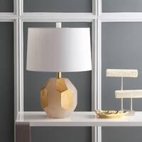 "Safavieh Lighting 21-inch Romy Alabaster Table Lamp - White / Gold - 15"" x 15"" x 21"""