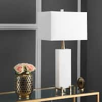 "Safavieh Lighting 30-inch Sloane Alabaster Table Lamp - White - 16"" x 8"" x 30"""