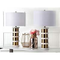 "Safavieh Lighting 27.5-inch Kerouac Table Lamp - Gold / White (Set of 2) - 15"" x 15"" x 27.5"""