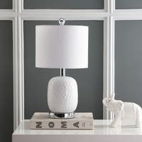 "Safavieh Lighting 19-inch Tucana Table Lamp - White - 10"" x 10"" x 19"""
