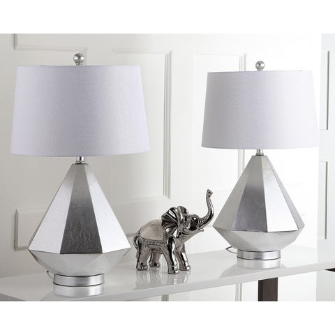 "Safavieh Lighting 27.5-inch Twain Table Lamp - Silver / White (Set of 2) - 16"" x 16"" x 27.5"""