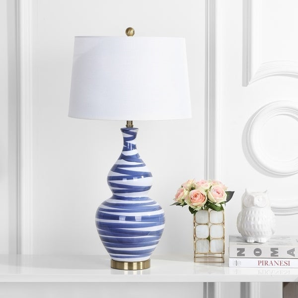 Shop Safavieh Lighting 31 Inch Aviana Table Lamp Gold Blue 17