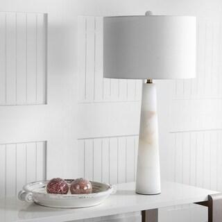 "Safavieh Lighting 30-inch Delilah Alabaster Table Lamp - White - 15"" x 15"" x 30"""