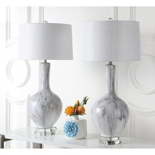"Safavieh Lighting 33.75-inch Griffith Table Lamp - Charcoal (Set of 2) - 16"" x 16"" x 33.75"""