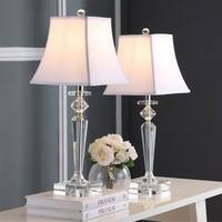 "Safavieh Lighting 26.5-inch Harlow Crystal Lamp - Clear / White (Set of 2) - 10.5"" x 10.5"" x 26.5"""