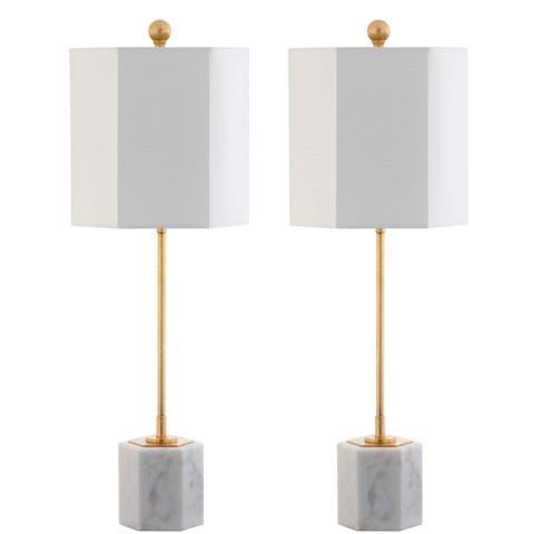 """Safavieh Lighting 29-inch Magdalene Marble LED Table Lamp (Set of 2) - 10"""" x 10"""" x 29"""""""