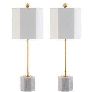 "Safavieh Lighting 29-inch Magdalene Marble Table Lamp - White (Set of 2) - 10"" x 10"" x 29"""