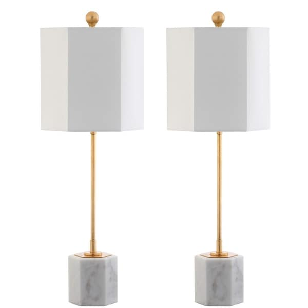 "Safavieh Lighting 29-inch Magdalene Marble LED Table Lamp (Set of 2) - 10"" x 10"" x 29"""