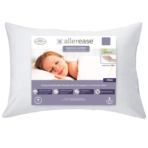 AllerEase Custom Comfort Memory Fiber Pillow - White