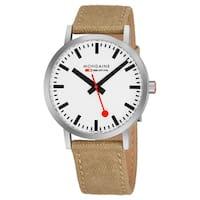Mondaine Men's A660.30360.16SBG 'Classic' White Dial Ivory Canvas Strap Official Railway Swiss Quartz Watch