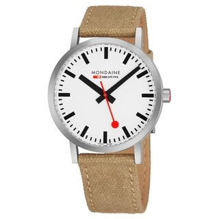 Mondaine Men's A660.30360.16SBG 'Classic' White Dial Ivory Canvas Strap Official Railway Swiss Quartz Watch