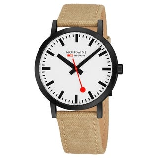 Mondaine Men's 'Classic' White Dial Ivory Leather Canvas Strap Official Railway Swiss Quartz Watch