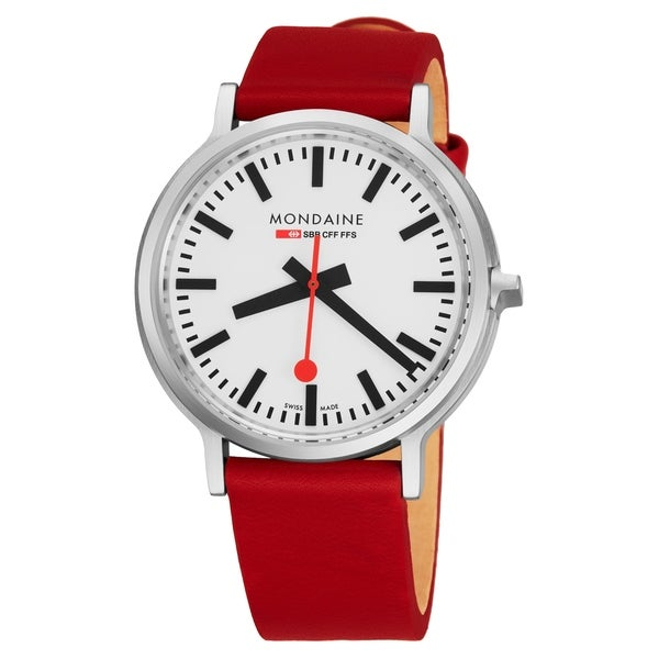 Mondaine Men's MST.4101B.LC 'Stop2Go' White Dial Red Leather Strap BackLight Technology Swiss Quartz Watch