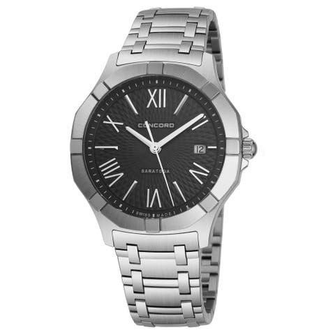Concord Men's 0320155 'Saratoga SL' Black Dial Stainless Steel Date Swiss Quartz Watch