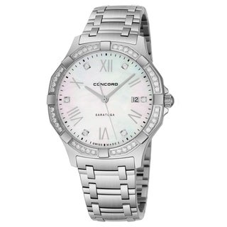 Concord Men's 'Saratoga SL' Mother of Pearl Diamond Dial Stainless Steel Swiss Quartz Watch