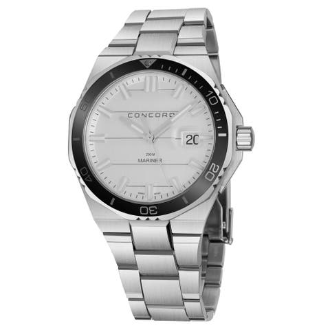Concord Men's 0320353 'Mariner' Silver Dial Stainless Steel Divers Swiss Quartz Watch