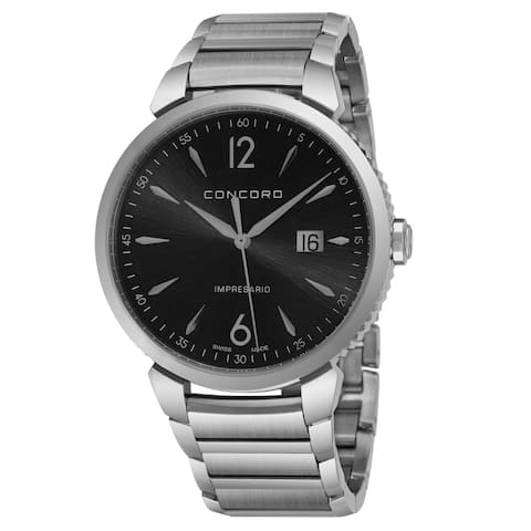 Concord Men's 0320325 'Impressario' Black Dial Stainless Steel Swiss Quartz Watch