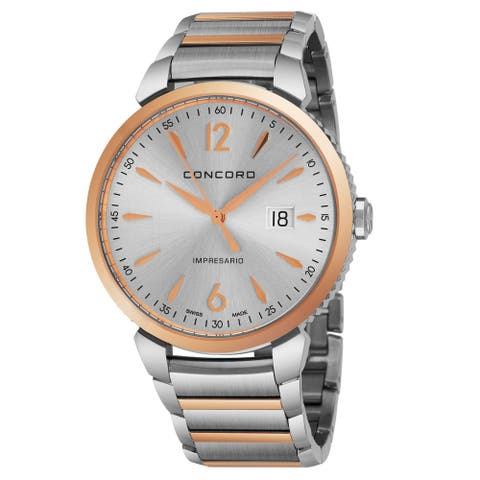 Concord Men's 0320326 'Impressario' Silver Dial Stainless Steel/18K Rose Gold Bracelet Swiss Quartz Watch