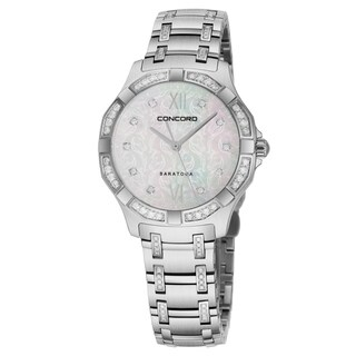 Concord Women's 0320286 'Saratoga SL' Mother of Pearl Diamond Dial Stainless Steel Diamond Horse Design Swiss Quartz Watch