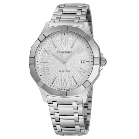 Concord Men's 0320153 'Saratoga SL' Silver Dial Stainless Steel Date Swiss Quartz Watch