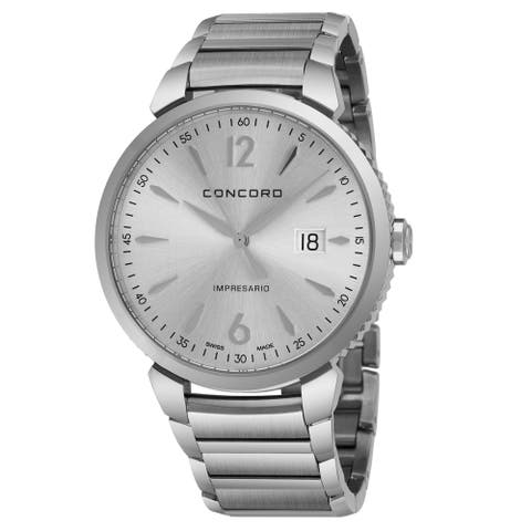 Concord Men's 0320323 'Impressario' Silver Dial Stainless Steel Bracelet Swiss Quartz Watch