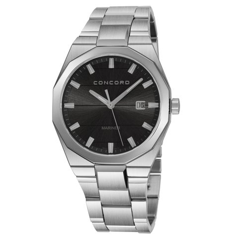 Concord Men's 'Mariner' Anthracite Dial Stainless Steel Bracelet Date Swiss Quartz Watch
