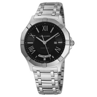 Concord Men's 'Saratoga SL' Black Dial Stainless Steel Bracelet Date Day Swiss Quartz Watch