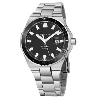 Concord Men's 'Mariner' Black Dial Stainless Steel Bracelet Divers Swiss Quartz Watch