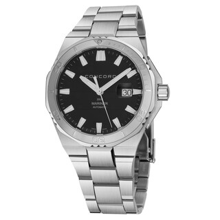 Concord Men's 'Mariner' Black Dial Stainless Steel Bracelet Date Swiss Quartz Watch