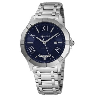 Concord Men's 'Saratoga SL' Blue Dial Stainless Steel Bracelet Date Day Swiss Quartz Watch