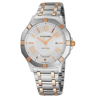 Concord Men's 0320351 'Saratoga SL' Silver Dial Stainless Steel/18K Rose Gold Date Day Swiss Quartz Watch