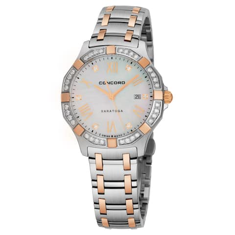 Concord Women's 0320169 'Saratoga SL' Mother of Pearl Dial Stainless Steel/18K Rose Gold Swiss Quartz Watch
