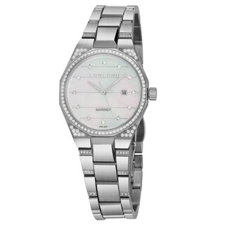 Concord Women's 0320276 'Mariner' Mother of Pearl Diamond Dial Stainless Steel Diamond Swiss Quartz Watch