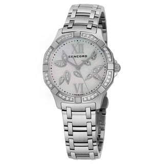 Concord Women's 0320305 'Saratoga SL' Mother of Pearl Diamond Dial Stainless Steel Lady Petal Swiss Quartz Watch