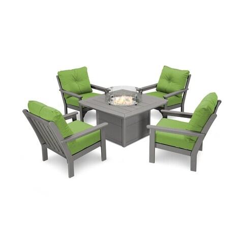 Vineyard 5-Piece Conversation Set with Fire Pit Table