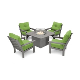 Vineyard 5-Piece Conversation Set with Fire Pit Table (Option: Assembled - Bronze - Water Resistant)
