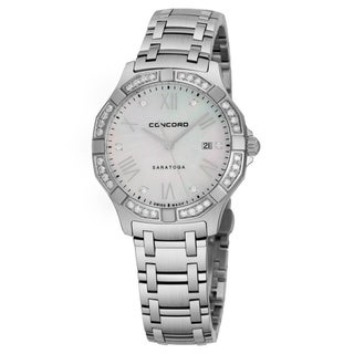Concord Women's 0320165 'Saratoga SL' Mother of Pearl Diamond Dial Stainless Steel Diamond Swiss Quartz Watch