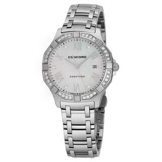 Concord Women's 'Saratoga SL' Mother of Pearl Diamond Dial Stainless Steel Diamond Swiss Quartz Watch