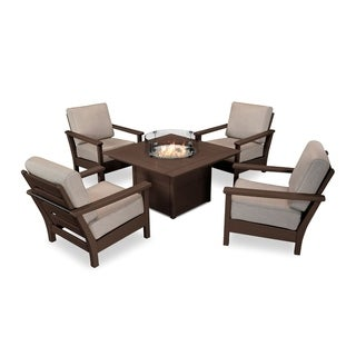 Harbour 5-Piece Conversation Set with Fire Pit Table (Option: Assembled - Bronze - Water Resistant)