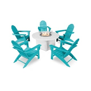 POLYWOOD Vineyard Adirondack Chair 6-Piece Chat Set with Fire Pit Table