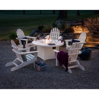 POLYWOOD® Classic Folding Adirondack Chair 6-Piece Conversation Set with Fire Pit Table