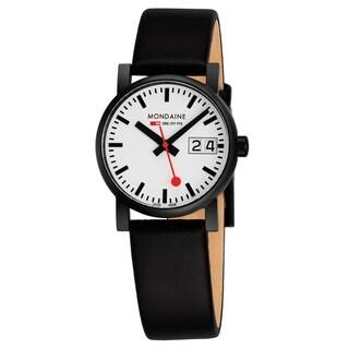 Mondaine Women's A669.30305.61SBB 'Evo' White Dial Black Leather Strap Swiss Quartz Watch