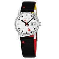 Mondaine Women's A669.30305GOT.SET 'Gottardo Nord Sud' White Dial Black Leather Strap Swiss Quartz Watch