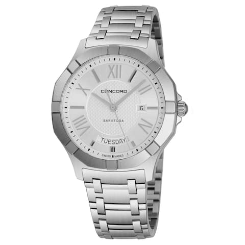 Concord Men's 0320347 'Saratoga SL' Silver Dial Stainless Steel Bracelet Date Day Swiss Quartz Watch