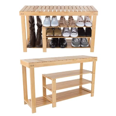 Bamboo Shoe and Boot Rack Bench Seat with 3 Tiers