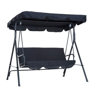 Outsunny 3-Person Steel Fabric Outdoor Porch Swing Canopy with Stand - Black